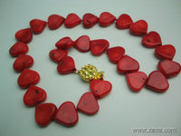 16'' 12mm red coral heart shape necklace