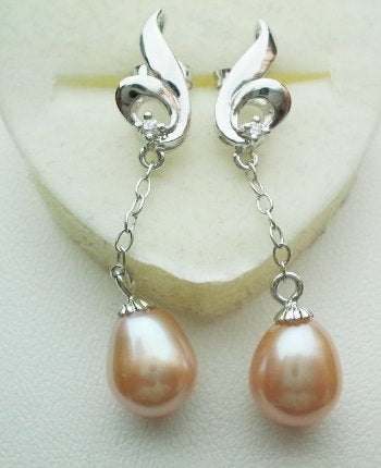 Pearl earrings with sterling silver - Pink Dangle PE1100