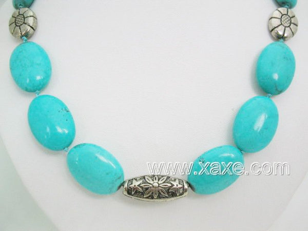 19'' big blue turquoise bead & tibet silver necklace