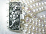 Wholesale 4 pcs. Grade AA 5-rows white pearl silver clasp bracel