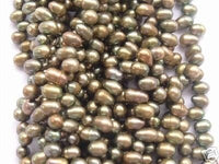 wholesale 20 strand 6-7mm potato shape fw pearl-peacock green