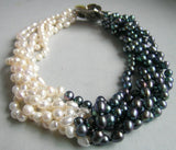 "17"" white black freshwater pearl necklace shell clasp"