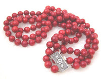 Beautiful 3 Strands Red Coral Necklace S925 Clasp