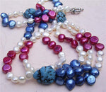 "20"" 6-7mm flat Pearl and Turquoise Necklace"
