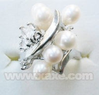 6pcs freshwater pearl ring with rhinestone - white color
