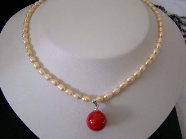 "16.5"" pink pearl necklace with coral bead pendant"