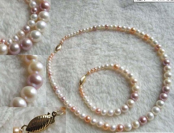Bridal set - 3 colors freshwater pearl necklace and bracelet