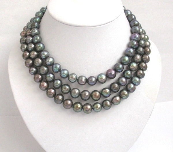 16-17-18 big 10mm round black pearls necklace 9k