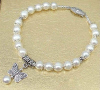 7.5'' white pearl bracelet dangle butterfly