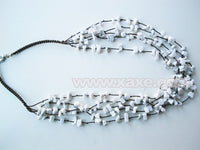 17.5'' white turquoise chips multistrands necklace
