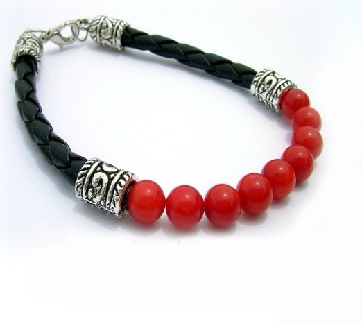 "8"" Red Coral Beads Bracelet"