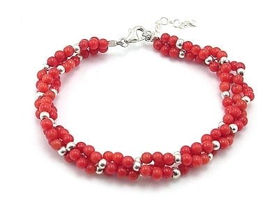 2rows 5mm red coral gild bead bracelet silver
