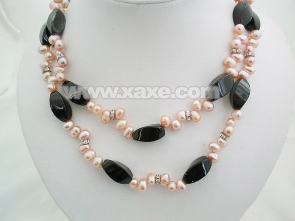 34'' pink pearl & agate beads long necklace
