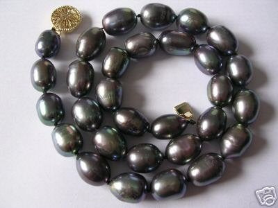 Super 10-11MM black freshwater pearl necklace
