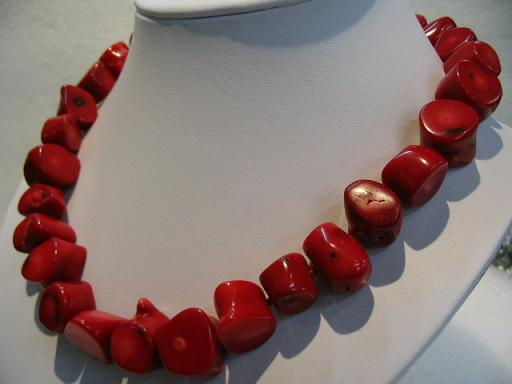 "19"" big red coral necklace"