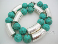Cyan color 14mm turquoise bead & silver necklace