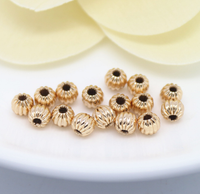 10 pcs 24k gold plated carved brass spacer beads  brass caps brass connector