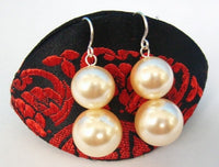 Stylish 12mm -14mm yellow Sea Shell Pearls Earrings