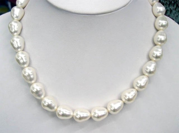 RARE white Drop south sea shell pearls necklace