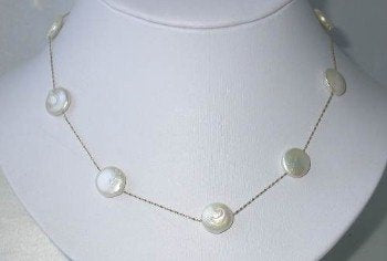 "New 14K gold 16"" 12mm white round coin pearl necklace"