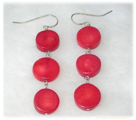 Dangle earrings - red coral flat bead silver hook