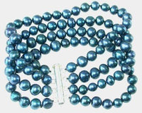 Wholesale 3 pcs A 4-rows dark blue pearl bracelet