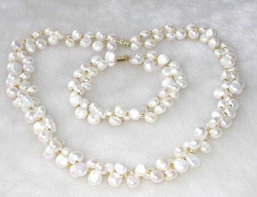 Graceful 18''/ 7.5'' 8-9mm double white pearl necklace set