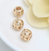 10 pcs 24k gold plated cubic hollow for love brass spacer beads  brass caps brass connector