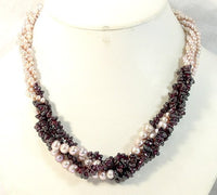 19'' 4ROWS LAVENDER CULTURED PEARL&GARNET NECKLACE 925S