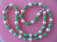 "graceful 17.5"" white pearl green jade w/septa necklace"