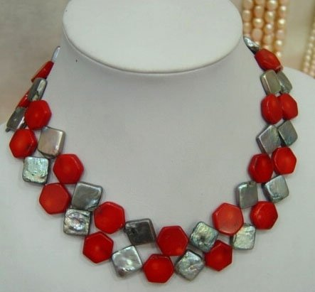 2 row square pearl and coral necklace