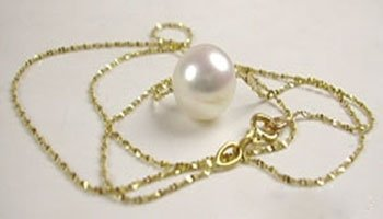 15.5'' 14K gold chain 9mm AA Round Freshwater pearl necklace