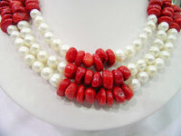 3 Strands Pearl&Coral Necklace 16.5inch