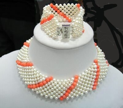 9 strands kint pearl and coral choker necklace bracelet set