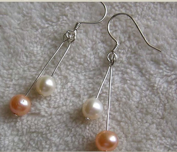 5-6mm white pink pearl dangle earrings 925 silver