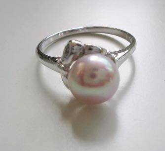 Pearl ring on silver holder - PR1090