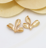 10 pcs 24k gold plated clover bead cap brass spacer beads pendants  brass caps brass bead