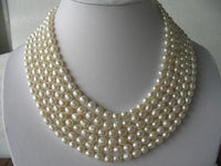 "116"" super lustrous white FW pearl necklace"