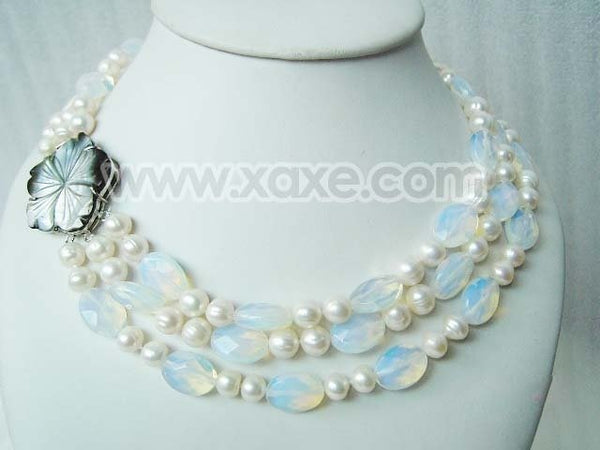 3 Rows Facet Moonlight Stone and Pearl Necklace