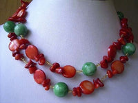 "34"" long coral shell and jade mix necklace"
