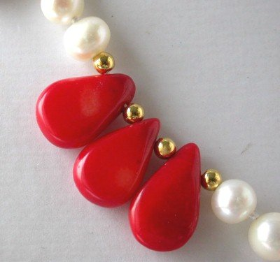 "18"" white FW pearl red seed coral necklace [CR1040]"
