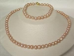 "Beautiful! 16.5"" 5.5-6.5mm pink cultured FW pearl necklace&7"" br"