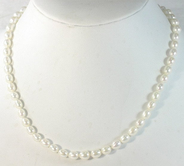 WHOLESALE 5-PCS 17'' WHITE cultured Pearl Necklaces