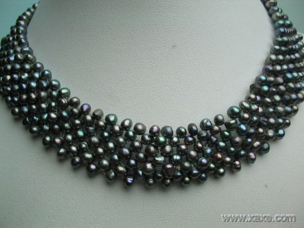 16'' 4-5mm black pearl 7 strands necklace choker