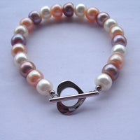 "7.5"" 8-9mm multi color pearl bracelet"