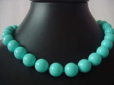 17.5'' 14MM Turquoise bead necklace