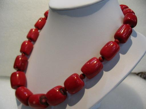 "20"" large red coral necklace"