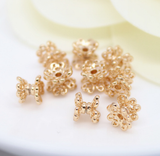 10 pcs 24k gold plated floral brass caps brass bead brass spacer pendant