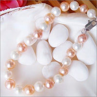 "7.5"" 7-8mm white and pink pearl bracelet"