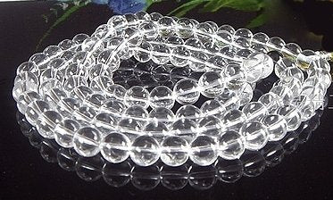 42'' super long 8mm white crystal beads necklace